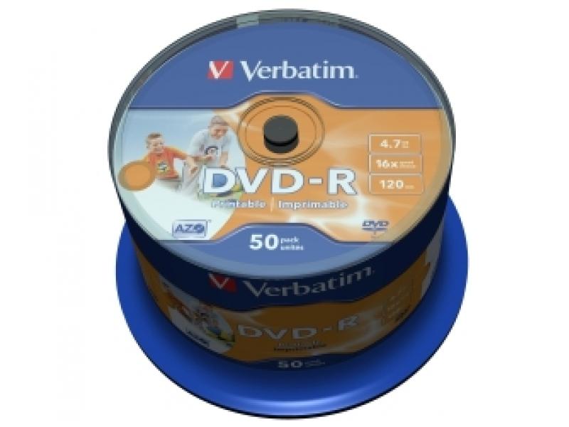 DVD-R VERBATIM Printable non ID 4.7GB 16x cake box (bal=50ks) 43533