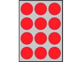 APLI Etikety kruhové neon. červené...