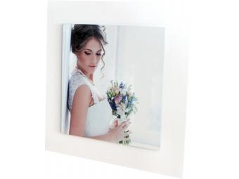 Nástenná ALU dekorácia 40 x 40 cm, biela