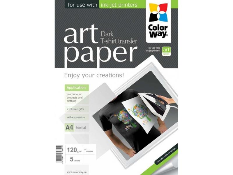 ColorWay Nažehľovací papier na tmavý textil 120g/m2, 5ks, A4