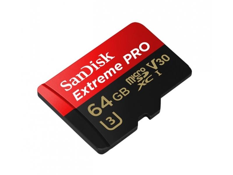 SanDisk microSDXC Extreme Pro 64GB 100MB/s A1 Class 10 UHS-I V30 + SD adaptér, pre akčné kamery