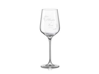 Pohár na víno s gravírovaním, sklenený