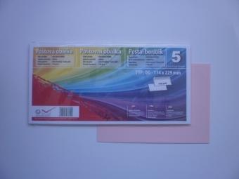 Obálka farebná C6/5(DL) 120g,114x229mm s pásikom svetlá ružová flamingo(baby) (bal=5ks)