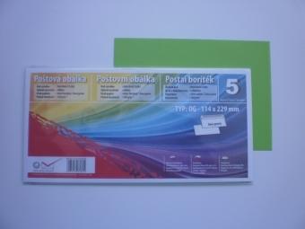 Obálka farebná C6/5(DL) 120g,114x229mm s pásikom jarná zelená(bal=5ks)