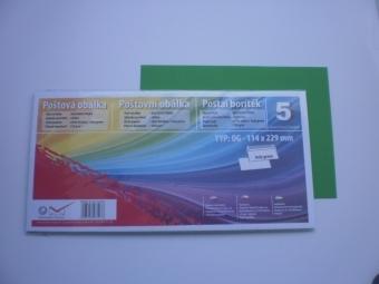 Obálka farebná C6/5(DL) 120g,114x229mm s pásikom tm.zelená (bal=5ks)
