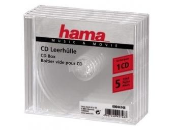 Hama 44748 náhradný cd obal, priehľadný, 5 ks