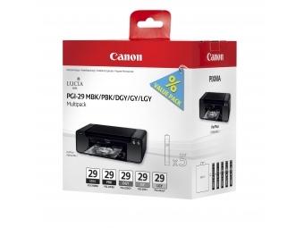 Canon PGI-29 Atramentová náplň Multipack, MBK/PBK/DGY/GY/LGY