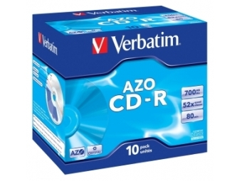 CD-R VERBATIM AZO Crystal 700MB 52x jewel case (bal=10ks) 43327