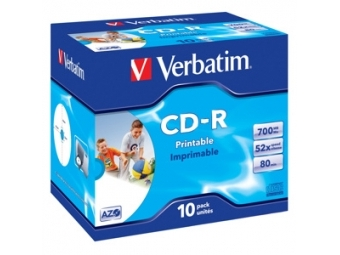 CD-R VERBATIM Printable 700MB 52x jewel case (bal=10ks) 43325