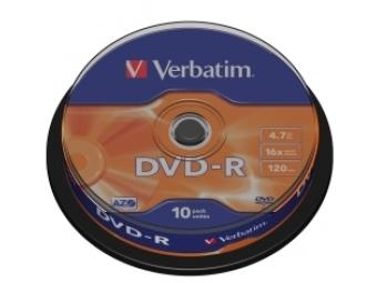 DVD-R VERBATIM 4,7GB 16x cake box (bal=10ks) 43523