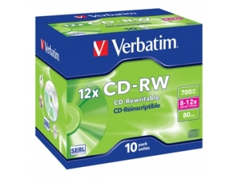 CD-RW VERBATIM Rewritable 700MB 12x jewel case (bal=10ks) 43148