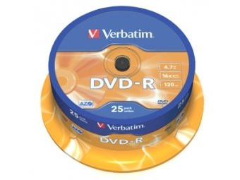 DVD-R VERBATIM 4,7GB 16x cake box (bal=25ks) 43522