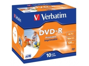 DVD-R VERBATIM Printable 4,7GB 16x jewel case (bal=10ks) 43521