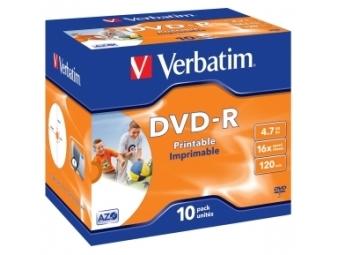 DVD-R VERBATIM Printable 4,7GB 16x jewel case (bal=10ks) 43521