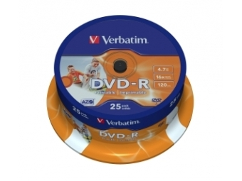 DVD-R VERBATIM Printable 4,7GB 16x cake box (bal=25ks) 43538