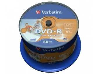 DVD-R VERBATIM Printable non ID 4.7GB 16x cake box (bal=50ks) 43533