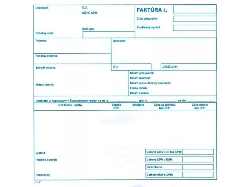 Tlačivo Faktúra Daňový Doklad 21x20cm100listovsamoprepis