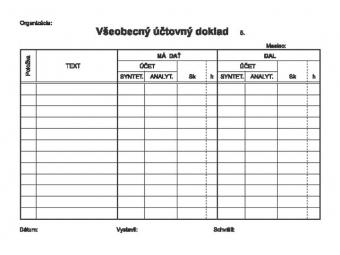 Tlačivo Všeobecný účtovný doklad A5/100listov (blok)