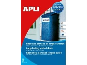 APLI Etikety PES laser vodeodolné, biele 64,6x33,8mm (bal=20hár)