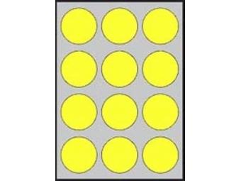 APLI Etikety kruhové neon. žlté 60mm (bal=20ks)