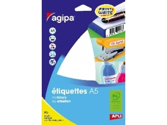 AGIPA Etikety kruhové A5 15mm biele (bal=16 hár, 1536ks)