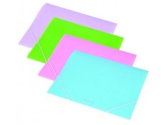 Panta Plast Obal na dokumenty PP A4 trojchl. s gumičkou 15mm,pastel.modrá