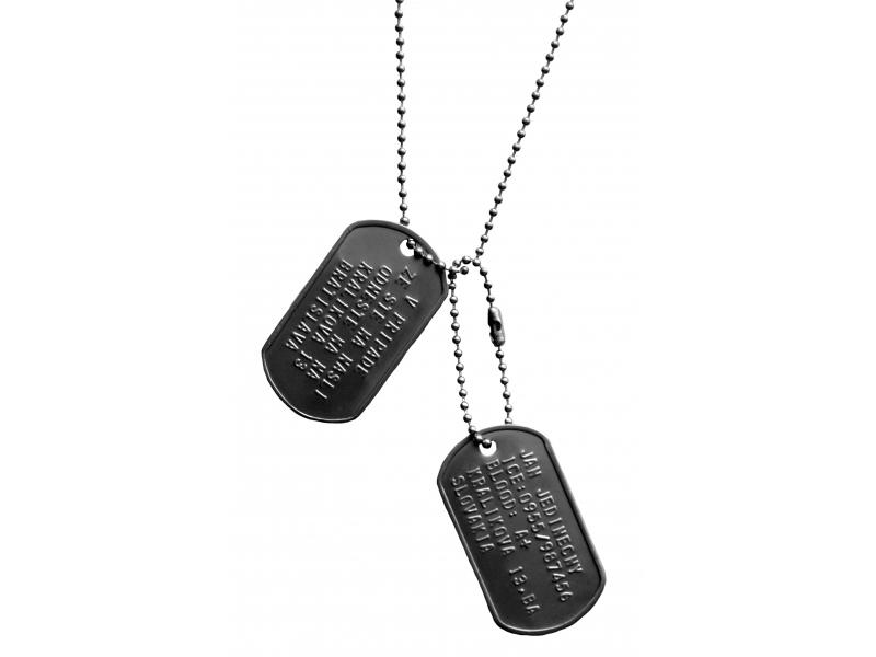 f87f9c47f Dog tag, Dvojica identifikačných vojenských známok s retiazkou ...