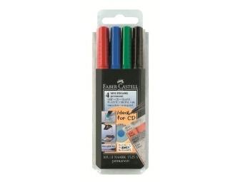Faber-Castell 1523 Permanentný popisovač Multimark S/0,4mm,sada 4 farby