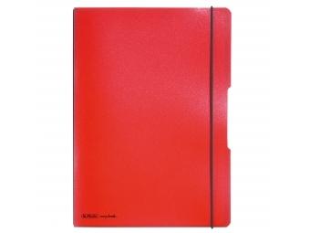 Herlitz Zošit flex s PP obalom s gumičkou A4/2x40l (linajk.+štvorček.) červený