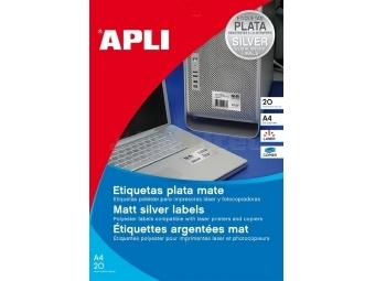 APLI Etikety laser strieborné 210x297mm/A4 (bal=20hár)