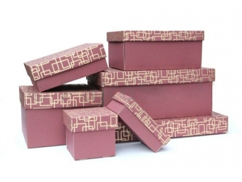 Darčeková krabička vínovo-zlatá 300x300x50mm