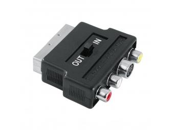 Hama 122238 Redukcia SCART vidlica - 3 cinch AV + S-video zásuvka, IN/OUT