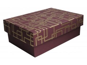 Darčeková krabička vínovo-zlatá 150x100x50mm