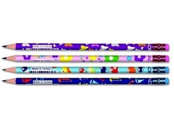 Adel Kids Grafitová ceruzka HB s gumou,mix (box=72ks).mix