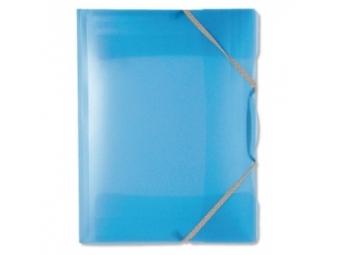Plastový obal na dokumenty Opaline trojchl. s gumičkou modrý