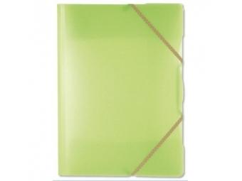 Plastový obal na dokumenty Opaline trojchl. s gumičkou zelený