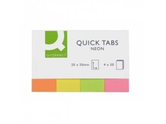 Q-Connect Záložky papierové samolepiace neon 20x50,mix (4x50l)