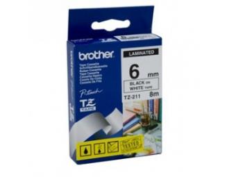 Brother TZE-211 Laminovaná páska 6mm biela/čierna
