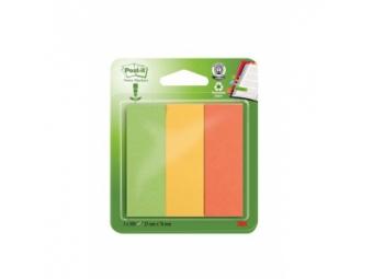 3M Post-It Záložky papier. recyklované 25x76mm mix (3x100l)