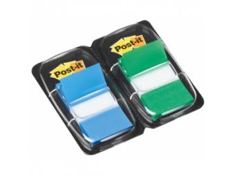 3M Post-It index široký 25x43mm (2x50 lístkov) zelený/modrý