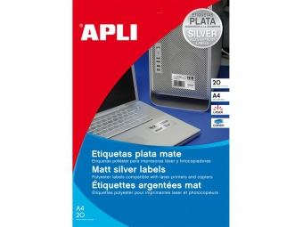 APLI Etikety laser strieborné 63,5x29,6mm (bal=20hár)