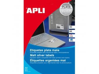 APLI Etikety laser strieborné 45,7x21,2mm (bal=20hár)