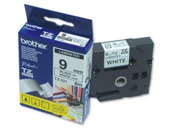 Brother TZ-221 Laminovaná páska 9mm biela/čierna