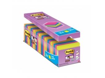 3M Post-It samolepiaci bloček Super Sticky 76x76mm neon mix (bal=24x90l)