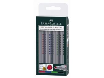 Faber-Castell GRIP Flipchart popisovače v plast.puzdre,zrezaný hrot (bal=4ks)