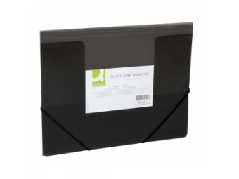 Q-Connect Obal plastový na dokumenty trojchl.. s gumičkou,transparent.čierny