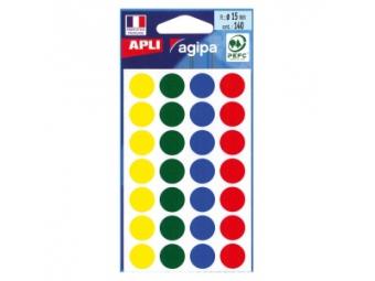 AGIPA Etikety kruhové 15mm mix farieb (bal=5 hár, 140ks)
