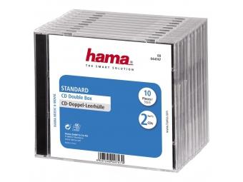 Hama 44747 štandardný obal na 2 CD, transparentný/čierny, balenie 10 ks