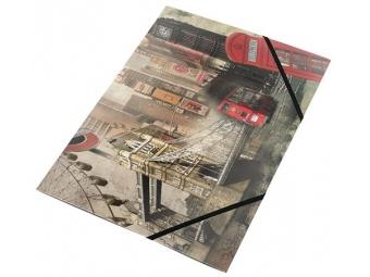 """Panta Plast Obal na dokumenty PP A4 trojchl.. s gumičkou 15mm """"London"""""""