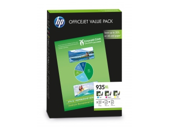 HP No.935XL Atramentová kazeta Officejet Value Pack C/M/Y +75 listov,210x297/A4 (F6U78AE)